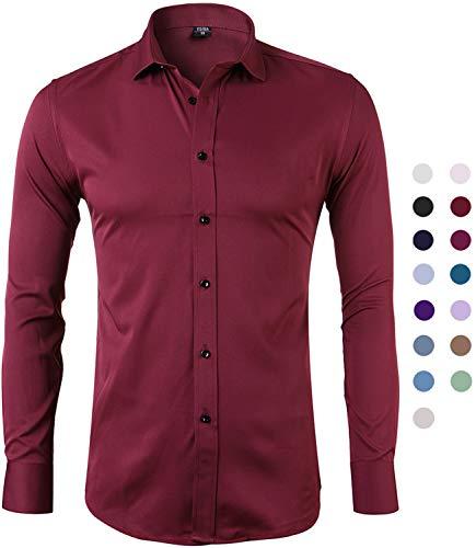 Harrms camicia elastica di bambù fibra per uomo, slim fit, manica lunga casual/formale, granada, 41 (collo 41cm, petto 108cm)