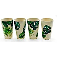 Set of 4 Large Bamboo Cups ¦ Reusable Bamboo Bamboo Cup Great as Camping Cups & Childrens Cups - 8 * 12.8 cm (Green Leaf)