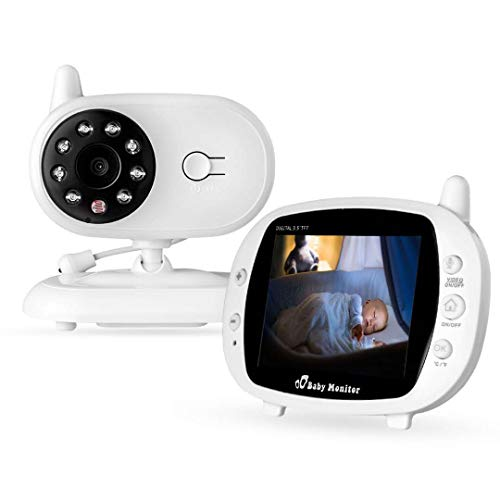 XGLL Video Baby Monitor da 3,5 Pollici, Audio Talk bidirezionale, Visione Notturna, Temperatura Ambiente, Ninna Nanna,Audio videocamera