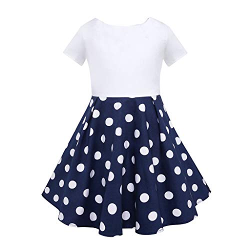 Livoral Mädchen Prinzessin Kleid Kinder Retro Kleid Polka Dot Prinzessin Swing Land Rock Party Kleid(Blau,Small)