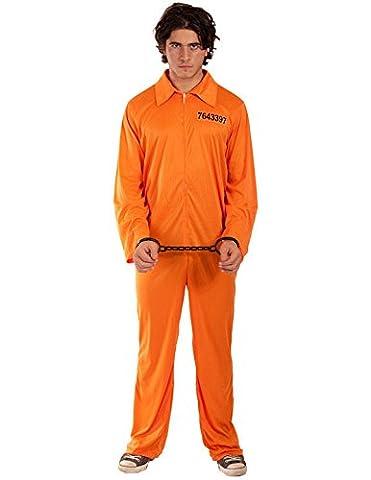 Adult Mens Prisoner Orange Jumpsuit Fancy Dress Halloween Costume Extra