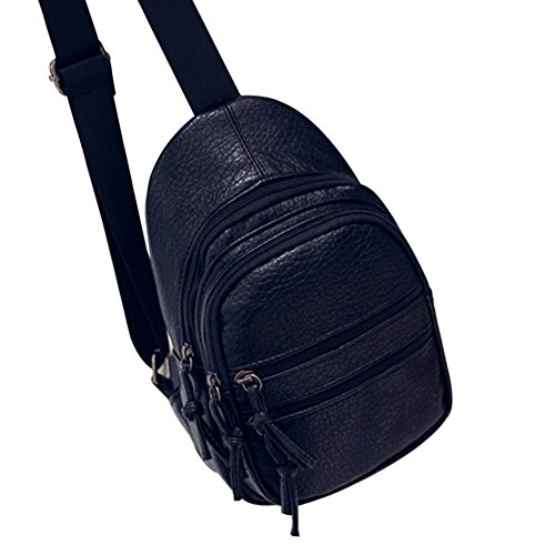 TELLW, Borsa a spalla donna 3 Black 17*30*5.5cm/Strap-110cm