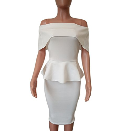 Womens Sexy Wrapped Chest Lotus-Blatt-Paket-Hüfte-Bleistift-Kleid Clubwear  ...