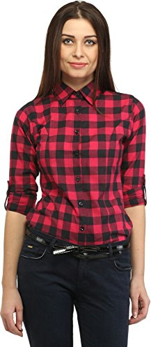 Blackcity Women's/Girl's Cotton checkered 3/4th Sleeve Warm Red Shirt  available at amazon for Rs.229