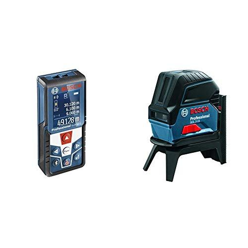 Bosch Professional GLM 50 C Distanziometro Laser, Campo di Misura 0.05-50 m Interfaccia Bluetooth pe + Bosch Professional GCL 2-15 Livella Laser Multifunzione, 3 batterie AA, Raggio d'Azione da 15 m, in