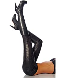 11717 Leggings im Kroko Look Schwarz Glänzend