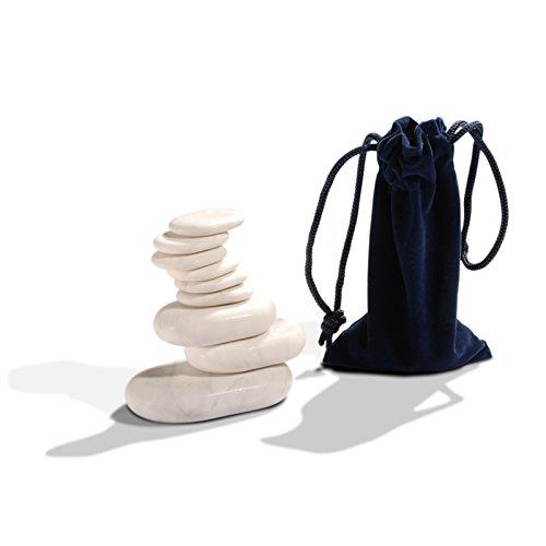 Set Profesional de Piedras Frias para Masaje | 9 Piedras de Marmol natural |