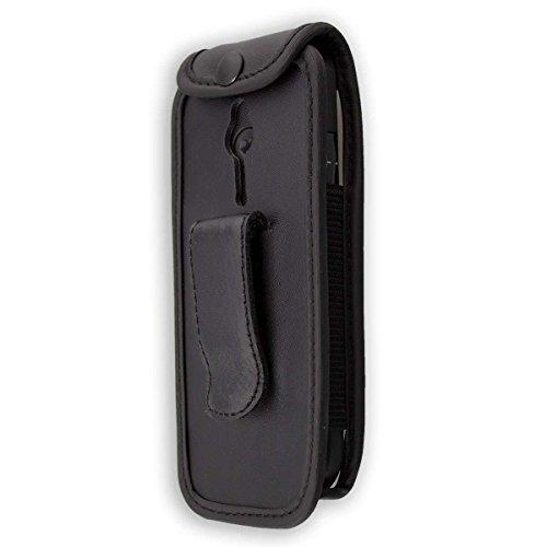caseroxx Ledertasche mit Gürtelclip für Emporia Eco C160 aus Echtleder, Handyhülle für Gürtel (mit Sichtfenster aus schmutzabweisender Klarsichtfolie in schwarz)