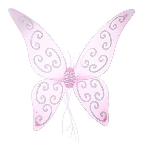 Sharplace Feenflügel Schmetterlingsflügel Zauberwelt Damen Mädchen Mädchenkostüm Feenkostüm - Lila / Rosa - Rosa