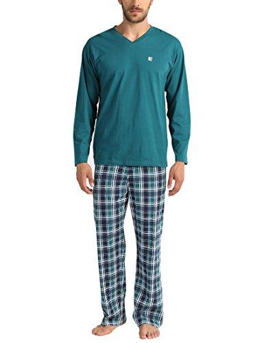 Lower East Herren Zweiteiliger Schlafanzug, Kariert, Kariert, Gr. XXX-Large, Mehrfarbig (Grün/Blau/Türkis)