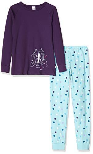 Schiesser Mädchen Ponyhof Md Anzug lang Zweiteiliger Schlafanzug, Blau (Lila 820), (Herstellergröße: 140)