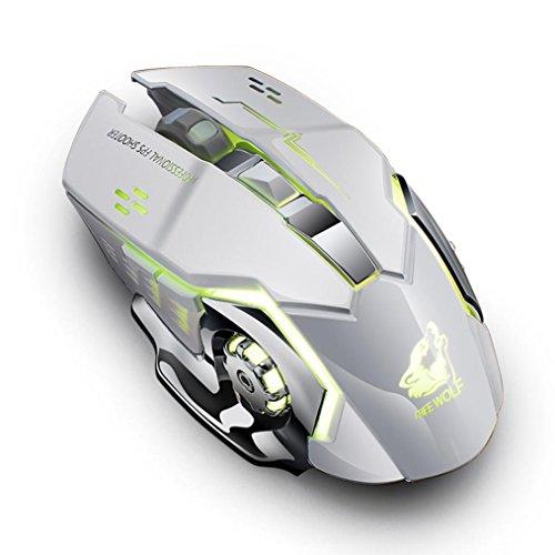 Prevently Wireless Gaming Maus Kabellose Maus Wiederaufladbare X8 Wireless Silent LED Hintergrundbeleuchtung USB Gaming Mouse Silent Desktop Computer Notebook Ladung Gaming Mouse (Weiß) (Mouse (wired Rad-schlüssel)