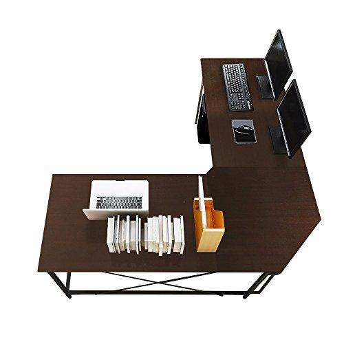 soges Eckschreibtisch Computertisch Gaming Tisch Mit L-Form Winkelschreibtischgroßer Gaming Schreibtisch Bürotisch Ecktisch Arbeitstisch PC Laptop Studie Tisch, 150 cm + 150 cm,LD-Z01-BK -