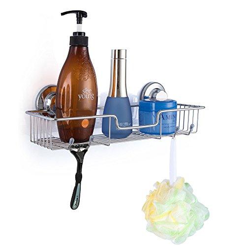 SANNO Badezimmer Dusche Caddy Bad Regal Aufbewahrung Organizer, kein Schäden Saugnapf, rostfrei Draht Korb für Küche & Bad Zubehör – Edelstahl rostfrei Verchromte Draht-körbe