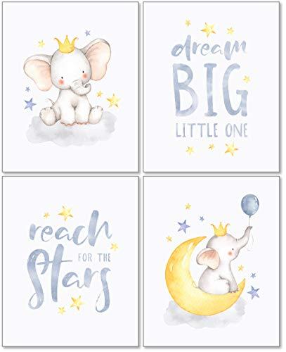 Confetti Fox Wanddekoration für Kinderzimmer, Motiv: Fuchs Elefant, Traum für große Babys, 20,3 x 25,4 cm, ungerahmt, 4er-Set