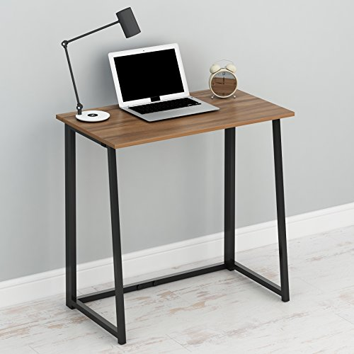 Cherry Tree Furniture Compact Flip-Flop Folding Computer Desk Home Office Laptop Desktop Table (Walnut)