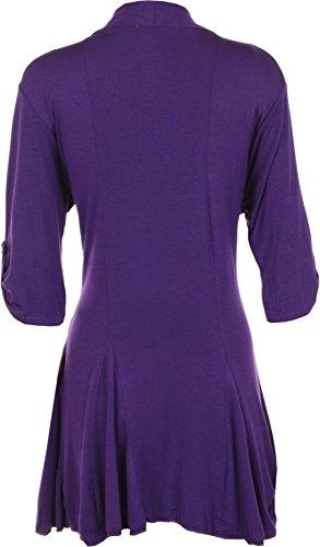 WearAll - Cardigan ouvert à manches mi-longues et boutonnées - Cardigans - Femmes - Grandes tailles 40 à 54 Pourpre