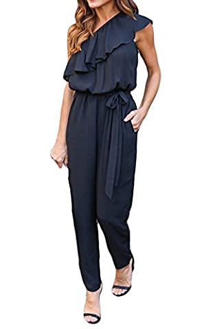 ALAIX Womens Sexy One shoulder Sleeveless Playsuit Club Ruffle Jumpsuit Rompers Black-M