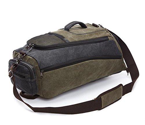 &ZHOU Borsa di tela, Canvas bag, grande capacità, Zaino outdoor, multi-funzionale, borse a spalla, a duplice uso, monospalla, obliquo Croce, uomini e donne, secchiello, big bag , army green army green