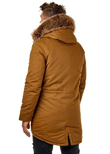 EightyFive EF7128 Herren Parka Mantel Winterjacke Kunstfell Kapuze Warm Gefüttert Teddyfell Schwarz Khaki Camel XS-XL, Größe:S, Farbe:Camel - 4
