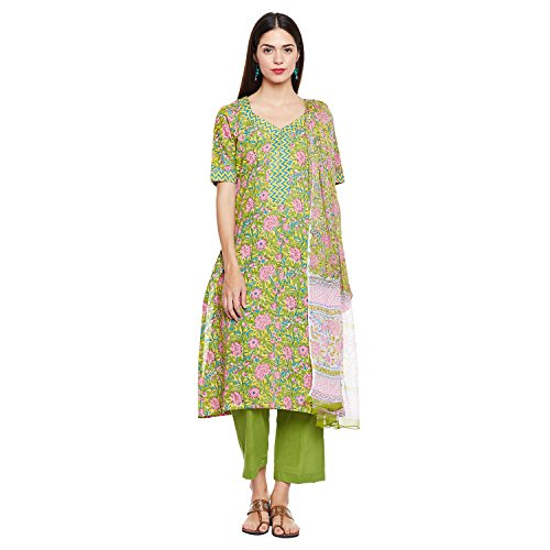 Pinkshink Green Cotton Salwar Kameez Dress Material For Women k233