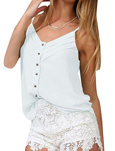 À bretelles pour femme Col en V unique Semi-transparente Cami Débardeur la poitrine Blanc - Blanc