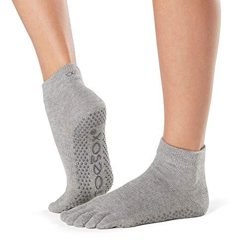 Toesox Full Toe Ankle Calcetines de Yoga, Unisex Adulto, Gris (Heather Grey), XL