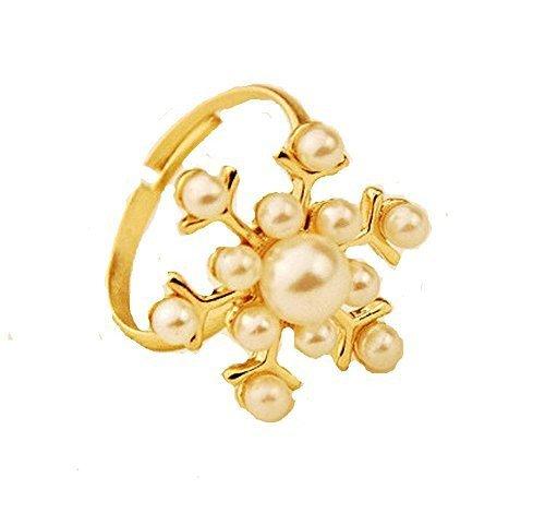 Korb Hill Uhren und Geschenke, Perle (Simuliert), Gold Ton Anglerstuhl Schneeflocke Adjusta...