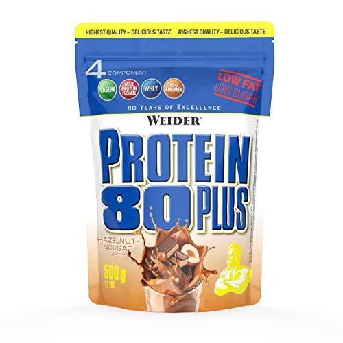 WEIDER Protein 80 Plus Eiweißpulver, Haselnuss-Nougat, Low-Carb, Mehrkomponenten Casein Whey Mix für Proteinshakes, 500g -