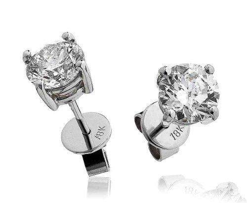 2Ct certificado g/VS2corte brillante redondo diamante Stud Pendientes en 18K oro blanco