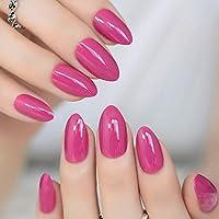 EchiQ uñas postizas de almendra ovaladas afiladas de tamaño mediano color violeta rojo falso uñas Stiletto rosa.