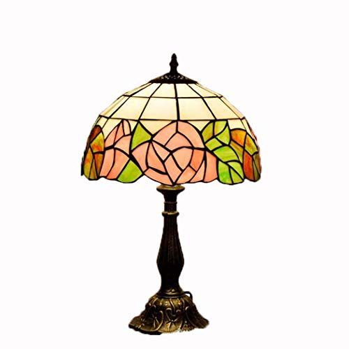 JUNJUNA 12 Zoll Tiffany Style Table Lampe, Schlafzimmer Dekoration Retro Stained Glass Lights rosa Rose, für Living Room, Restaurant Night Light, Nachttischlampe 40W Rosa Rose Night Light