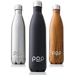 Botella de Agua de POP Design | Mantiene bebidas frías por 24h y calientes por 12h. | Acero inoxidable con aislamiento en vacío | Tapón anti goteo y anti sudor | Boquilla estrecha y libre de BPA | 740 ML | Onyx