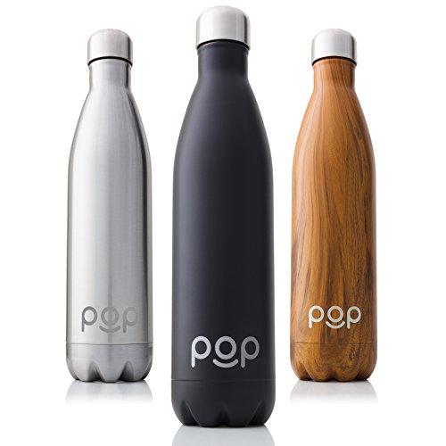 POP Bottiglia per Acqua Design, Mantiene Il Freddo per 24 Ore e Il Caldo per 12 Ore, Acciaio Inox Isolamento a Vuoto, Antigoccia e anticondensa, Collo Stretto e priva di BPA, 740 ml, Onice