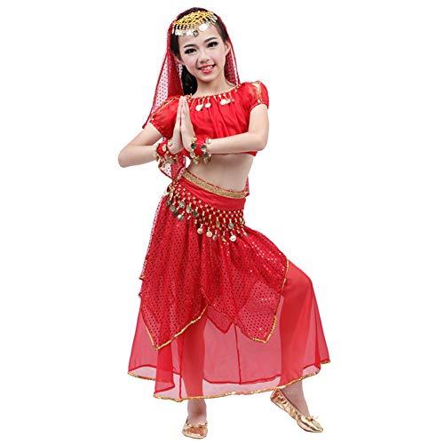 JIE. Kinder Indian Dance Kostüm Set Kostüme Kinder Bauchtanz Kostüme Frauen Praxis Leistung Kostüme Laterne Kurzarm Farbe Perlen Kopf Kette,Red,L (Frauen Kostüm Mime)
