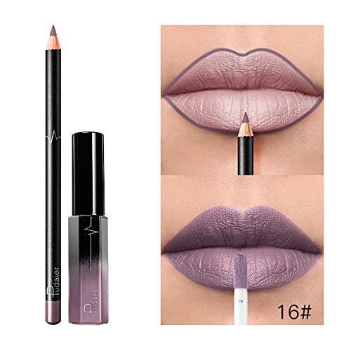 Gaddrt 36 Colors Lipstick with Lip Liner, Long Lasting Waterproof Matte Liquid Gloss Cosmetics Set (P)