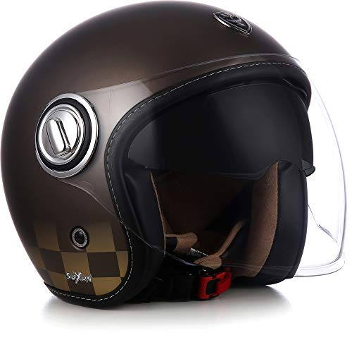 Soxon SP-888Mono Casque de moto jet polyvalent avec pare-soleil et visière longue Convient aussi pour le scooter