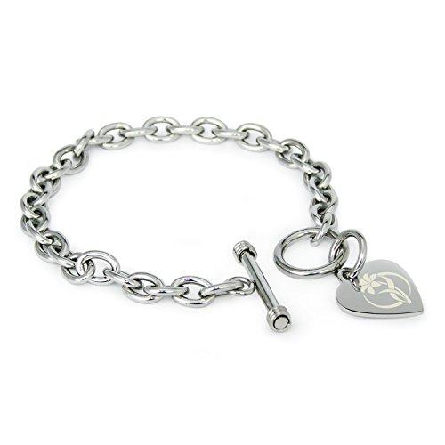 Edelstahl Kreislauf des Lebens Blume Symbol mit Gravur Herz Charme Armband