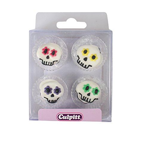 Culpitt 12 Halloweenparty Totenköpfe bunt aus (Schädel Zucker Ideen)