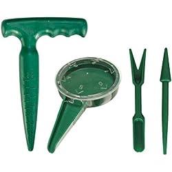 AmgateEu Kit mini outils jardinage Semeur poignée pistolet plantoir pelle râteau repiqueuse mécanique Set of 4 pcs