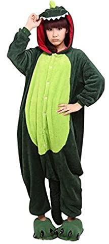 ABYED® Halloween Pajamas Homewear OnePiece Cosplay Costume Loungewear,Dinosaur Adult XL -for Height 175-183CM - Sveglio Del Dinosauro