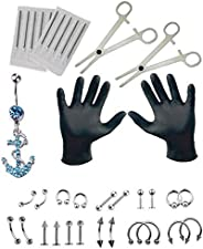 36PCS Professional Piercing Kit Stainless Steel 14G 16G Belly Ring Tongue Tragus Nipple Lip Nose Jewelry Steri