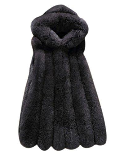 Laozan donne gilet di pelliccia ecologica senza maniche con cappello per inverno - grigio scuro - small