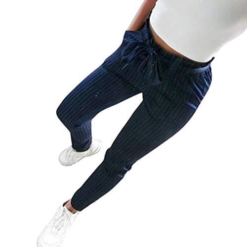 Coolster Damen-beiläufige Gestreifte Hohe Taillen-Hosen-elastische Taillen-beiläufige Hosen (Dunkelblau, 3XL)