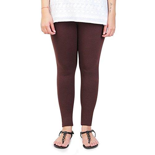 Silk Villa Women's Cotton Leggins(New_6$-M_Brown_Medium)