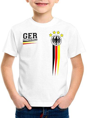 style3 Deutschland Kinder T-Shirt Germany Fußball Weltmeisterschaft Trikot WM 2018, Farbe:Weiß, Größe:116