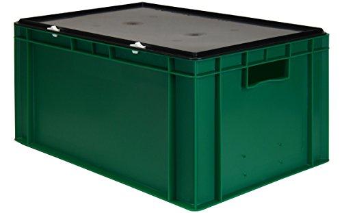 Transport-Stapelbox / Lagerbehälter grün, mit schwarzem Verschlußdeckel, 600x400x320 mm (LxBxH) (Farbe Kunststoff-lagerbehälter)