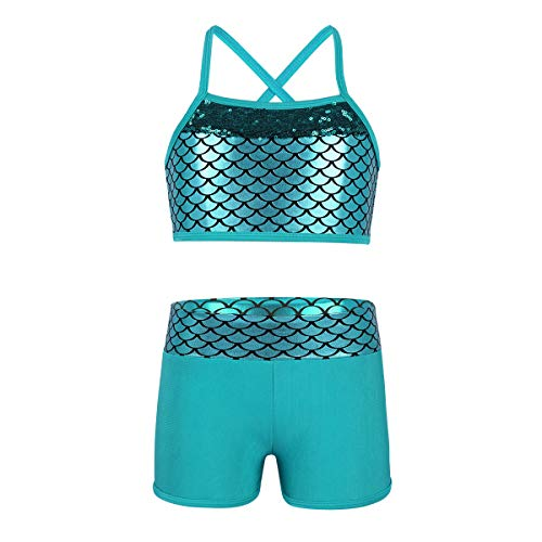 Agoky Mädchen Badeanzug Zweiteiler Bikini Tankini Sets Sport Bustier Top Bralette und Shorts Kurze Hose Kostüm für Tanz Gymnastik Ballett Yoga Turn Kleidung Set gr.104-164 Lake Blue - Teenager Tanz Kostüm