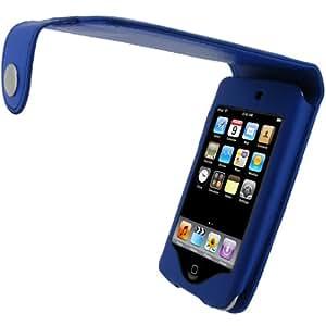 igadgitz PU Leder Tasche Schutzhülle Etui Case Hülle aufklappbar in Blau für Apple iPod Touch 2G 2. Gen Generation & 3G 3. Gen Generation 3G 8gb 16gb 32gb & 64gb + abnehmbare Gürtelbefestigung