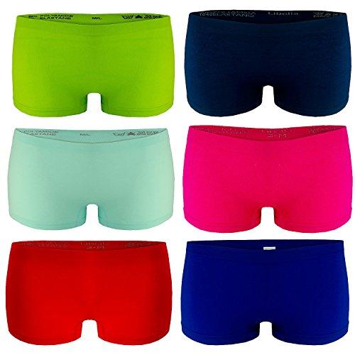 Libella 6er Pack Damen Panties Boxershorts Mikrofaser Seamless 3908 Mehrfarbig L/XL